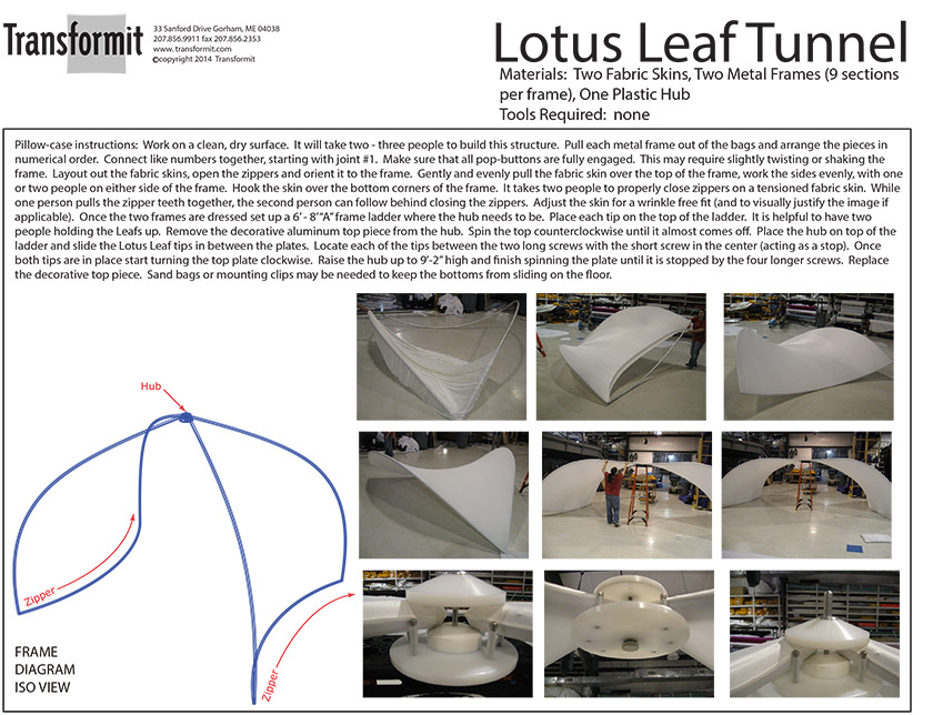 Lotus Leaf Tunnel hub version 2 Directions 840