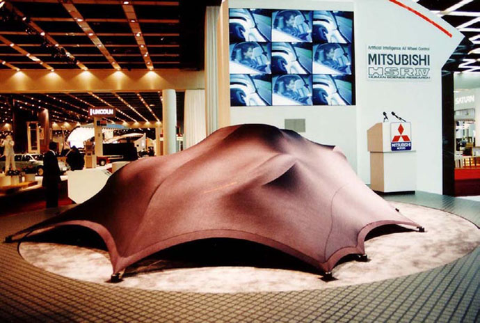Fabric structures, custom, product reveal, Client: The George P. Johnson Company