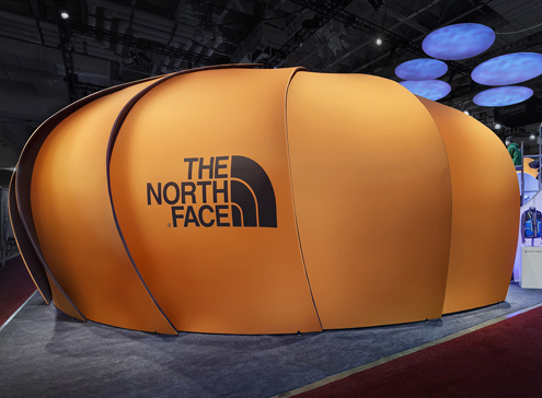 The North Face theater was a silent zone for the movies and presentations within.