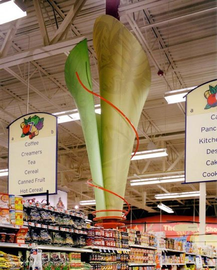 Fabric structures, custom, retail, column cover, Hannaford Brothers Company