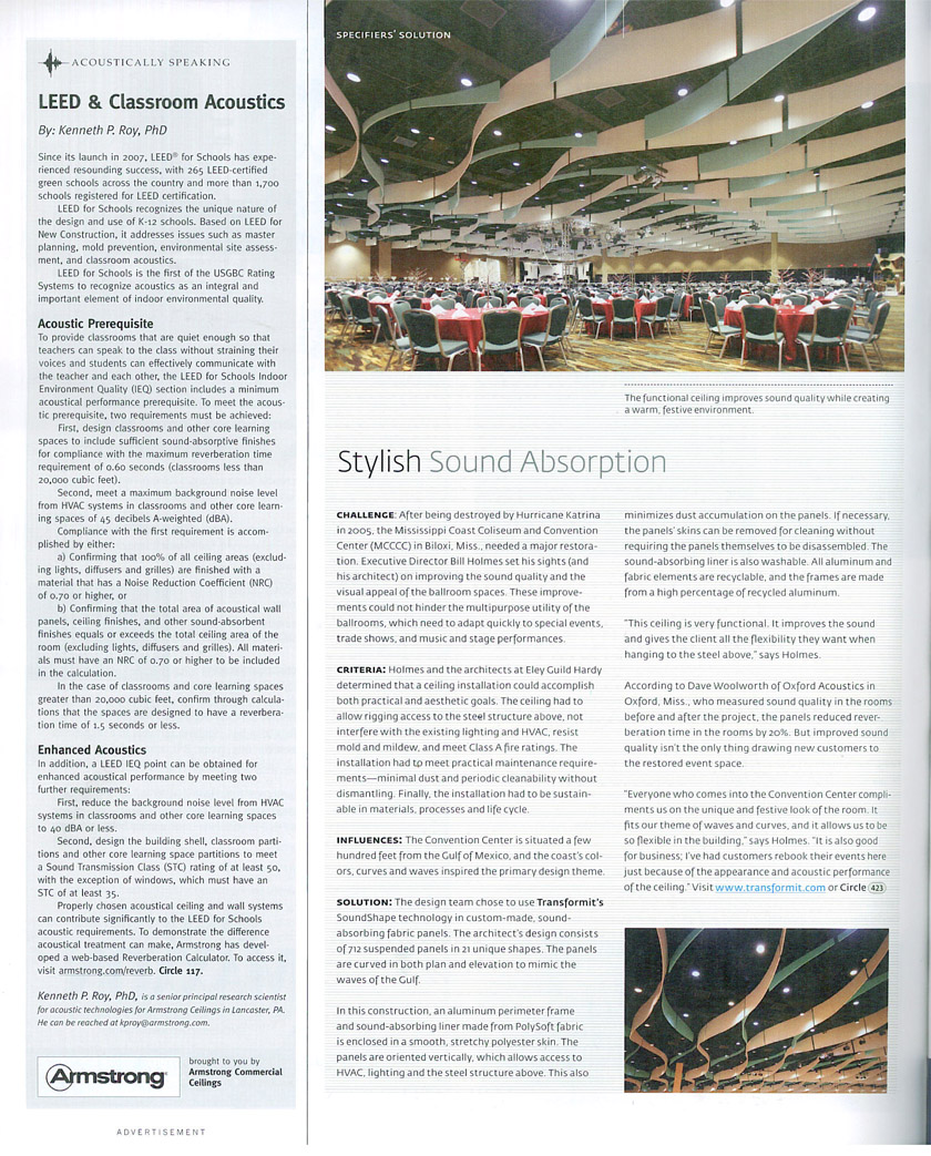 Architectural Products article about acoustic ceiling installation at Mississippi Coast Coliseum and Convention Center (MCCC)