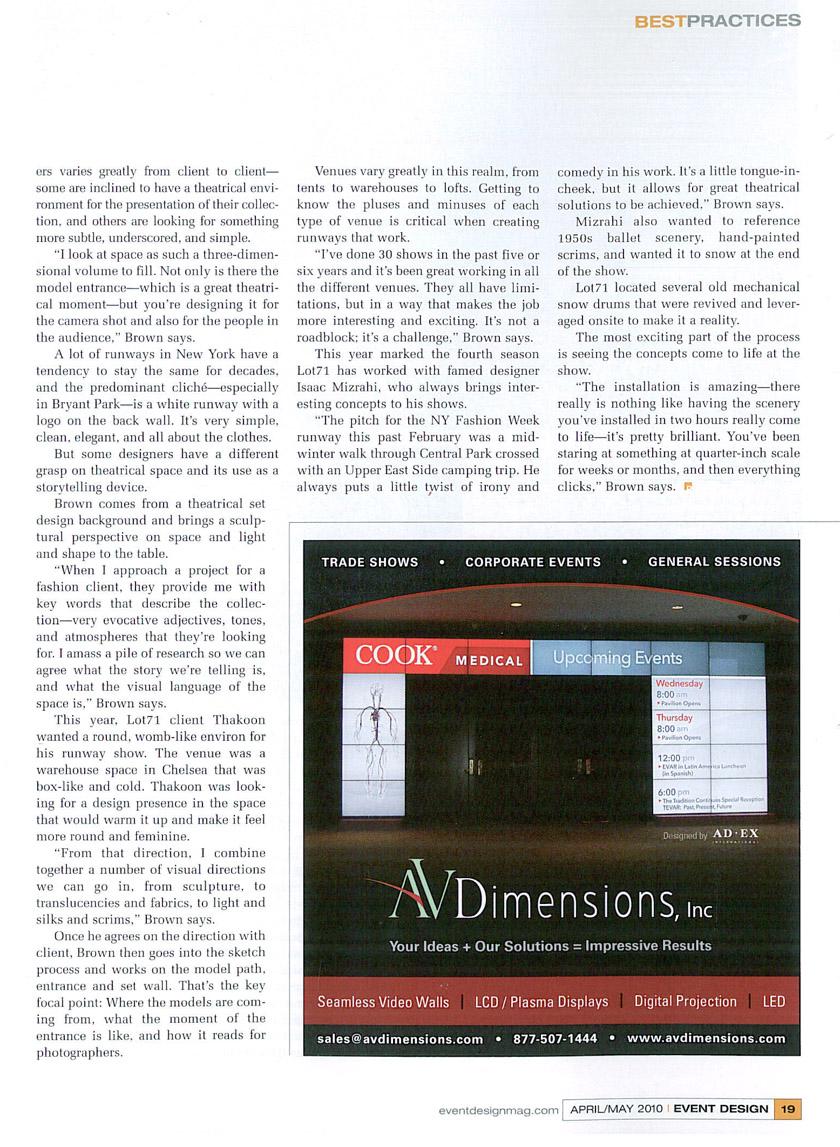 Event Design, April May 2010, pp18 19 2