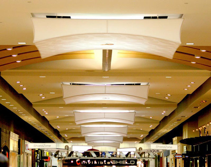 Fabric structures, custom, lighting, light fixtures, mall, Client: Mulvanny G2 Architecture