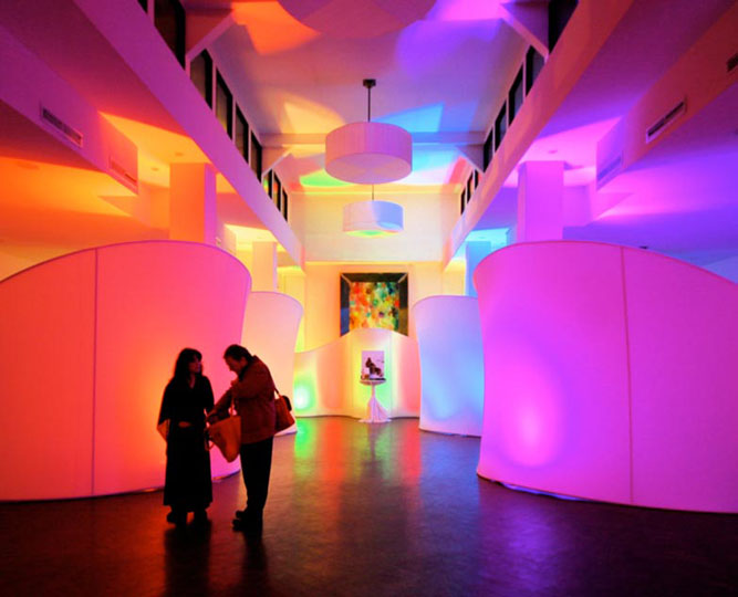 The rainbow of colors used on these Ready-Made pieces illustrate the effects that are possible with LED lights.