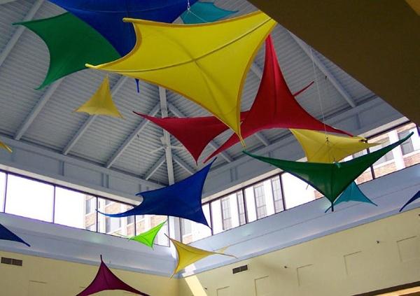 Fabric structures, custom, acoustics, Client: Sodexho