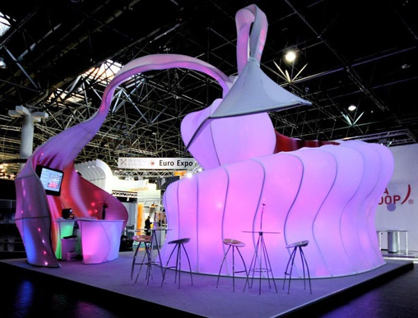 Fabric Structures, custom, exhibit, bar, Client: Transformit