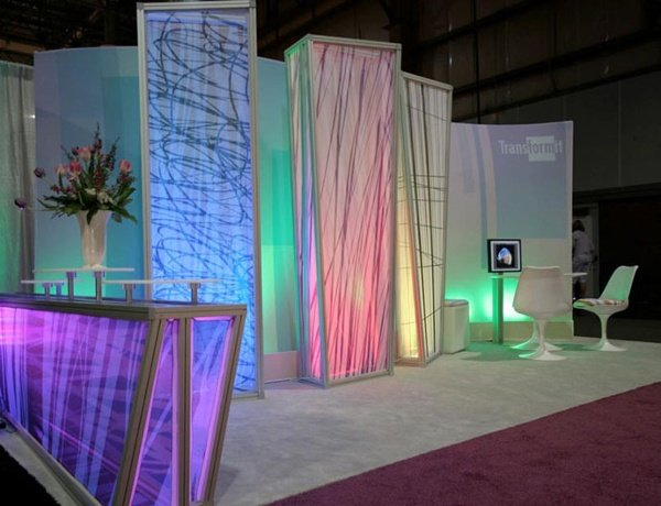 Fabric structure, ready-made, columns, LED lighitng
