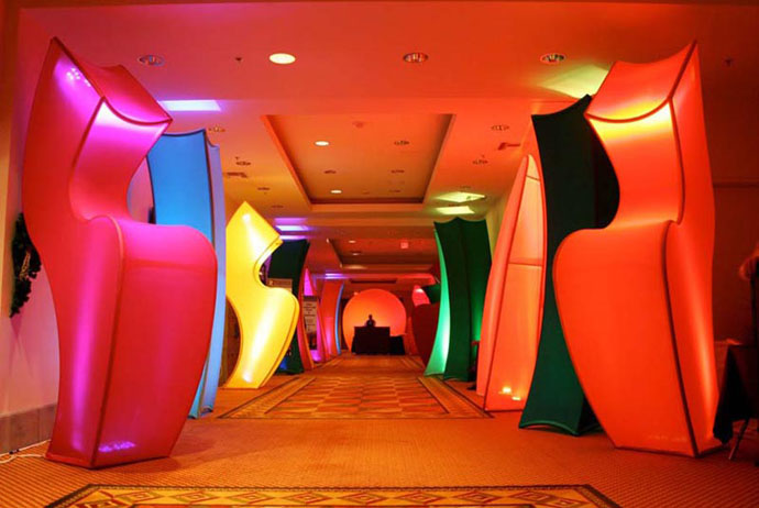 Fabric structures, ready-made, entryways, Rumbas, Tangos, Client: EDPA