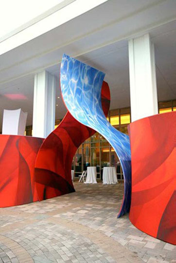 Fabric structures, ready-made, Natura, Riff, entryways, Client: Exhibitor Magazine