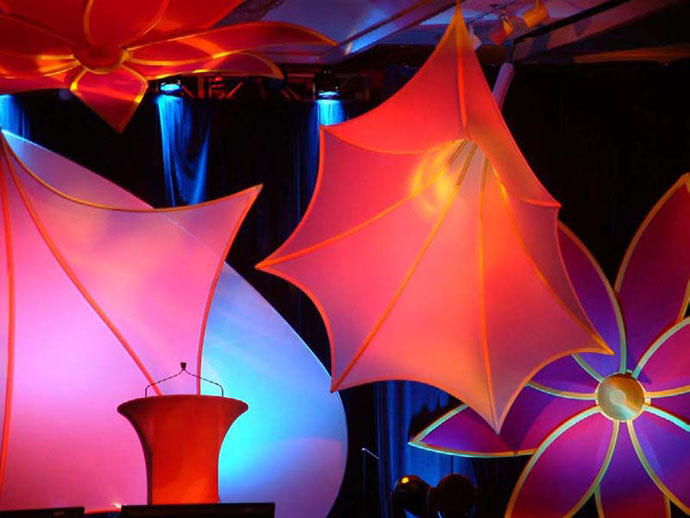 Fabric Structures, Ready-Made, Stage, Morning Glory, Dazzle, Sea Fan, Dream Keeper, Client: Line One Productions.