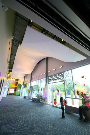 Fabric structures, custom, museum, ceiling panels.