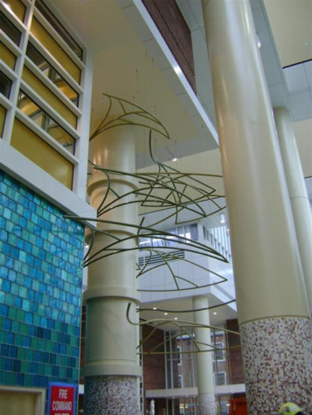 Installation above the check-in desk at Riley Children's Hospital, Indianapolis, IN. Fabric structure, custom, architecture, healthcare. Client: Performance Contracting.