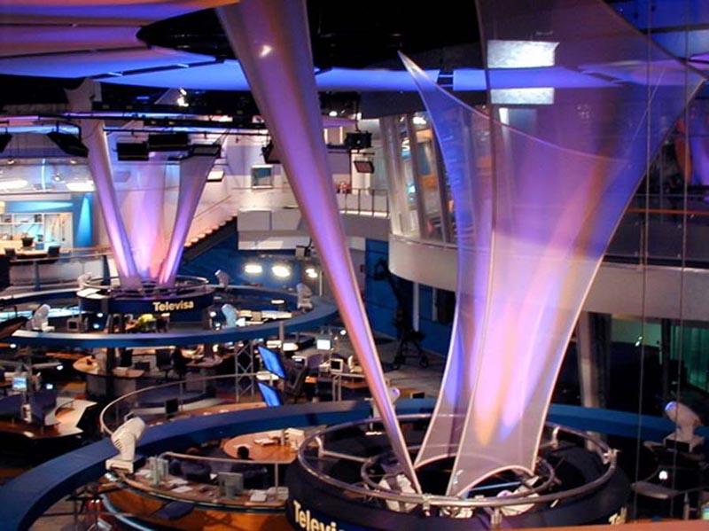Fabric structures, custom, public spaces, Client: Broadcast Design International.