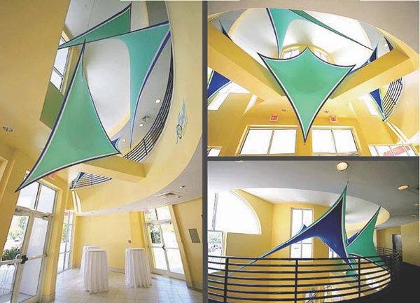 Fabric structures, custom, public spaces, wings, Client: Lynn Meadows Discovery Center.