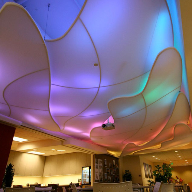 Transformit was asked to create a cloud-shaped ceiling that acts as a light diffuser for ever changing LED lights.