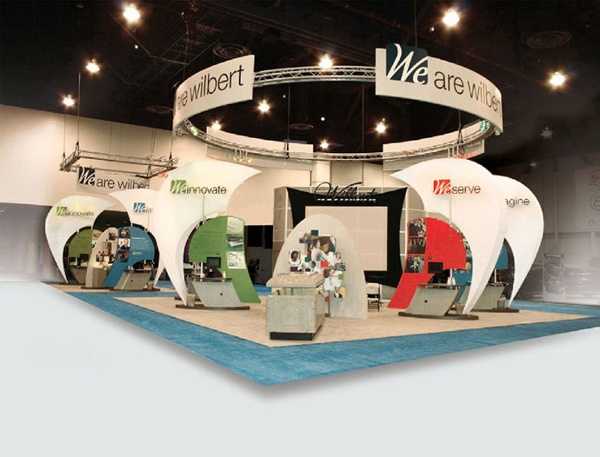 This exhibit designed by Triad Creative Group is a great example of how to use ready-made/rental pieces in a custom exhibit by creating an alternate structure for support.