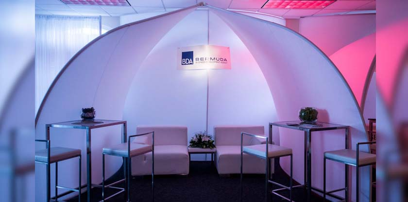 Each pod was designed with high and low seating to allow sponsors to make multiple client meetings